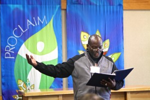 Seminarian Gus Barnes Jr leading worship.  Photo by Emily Ann Garcia