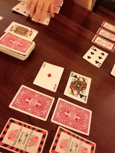 """Playing some """"Workin Poker"""" after a long day."""