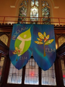The ELM banners hanging in worship at the consecration service.