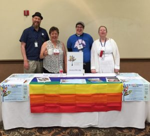 Fun at the Sierra Pacific Synod ELM table! Larell Fineren (second from left) with Proclaim members John Brett, Rev. Megan Rohrer, and Rev. Dr. Dawn Roginski