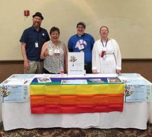 Fun at the Sierra Pacific Synod ELM table! Larell Fineren (second from left) with Proclaim members John Brett, Rev. Megan Rohrer, and Rev. Dr. Dawn Roginski