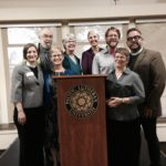 (L-R): Rev. Jen Rude, Bennett Falk, Nancy Rude, Margaret Moreland, Amalia Vagts, Rev. Tim Feiertag, Deb Derylak, Rev. Jeff R. Johnson